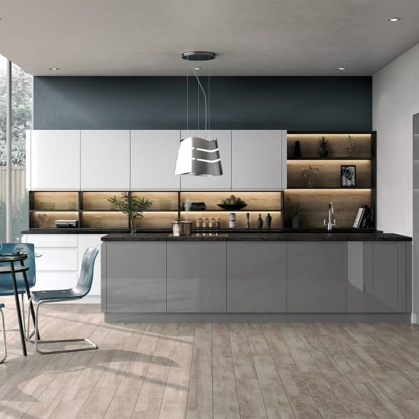 Bespoke made to measure Gloss Dust Grey kitchen with Island in London