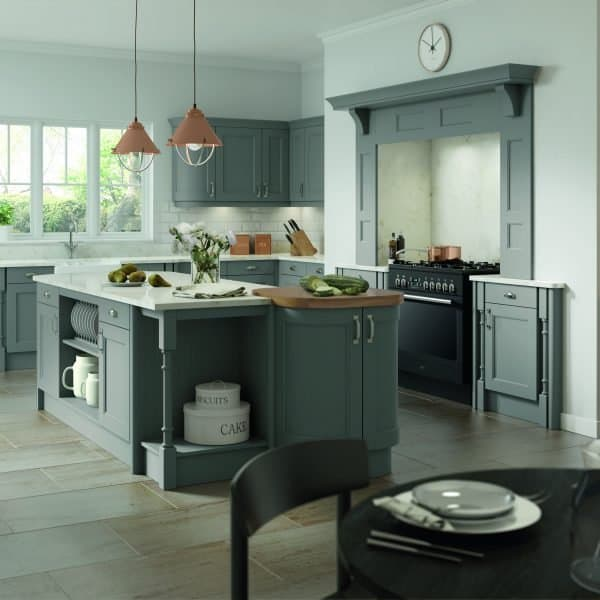 Carlton Traditional Kitchen Shaker Style with Beading Doors from Solid Ash Dust Grey Painted Finish