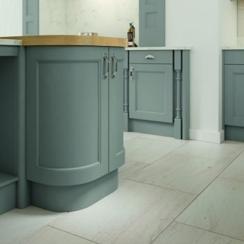 Carlton Traditional Kitchen Shaker Style with Beading Doors from Solid Ash Dust Grey Painted Finish with Island