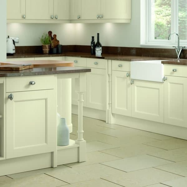 Carlton Traditional Kitchen Shaker Style with Beading Doors from Solid Ash in Ivory Painted Finish with column and plate tray