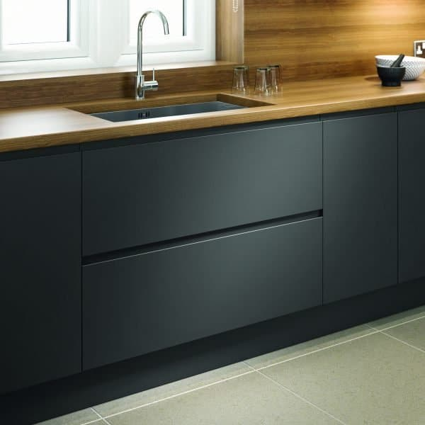 Made to measure bespoke Matt Anthracite kitchen with J handles in London