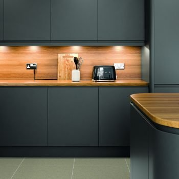 Bespoke made to measure Matt Anthracite with Wooden Worktop and painted in wood splashback in London