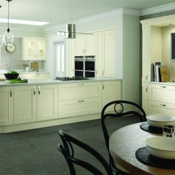 Bespoke made to measure Shaker Timber Traditional Kitchen in Matt Light Grey and Mussel Colours in London