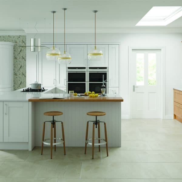 Bespoke made to measure Shaker Timber Traditional Kitchen in Lacquered Oak Finishes with Glass Doors in London