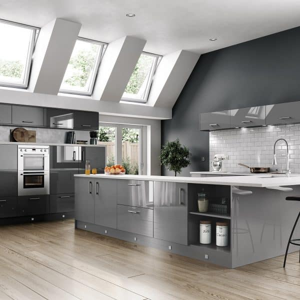 Bespoke made to measure Gloss Dust Grey kitchen with rounded corners in London