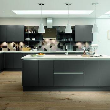 Bespoke modern matt handless kitchen with island London