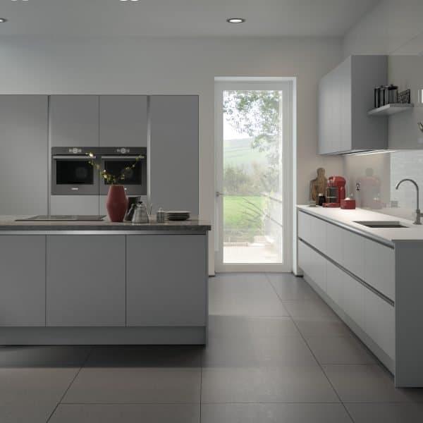 Bespoke modern matt grey handless kitchen with island London