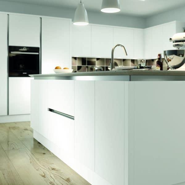 Bespoke modern matt white handless kitchen with island London