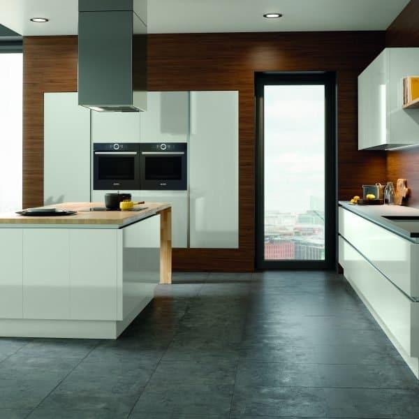 Bespoke modern light grey high gloss handless kitchen with island London