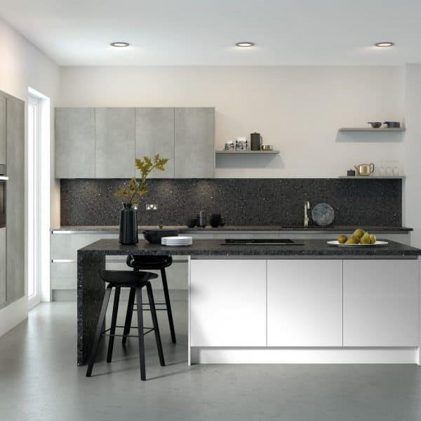 Bespoke modern grey handless kitchen with island London