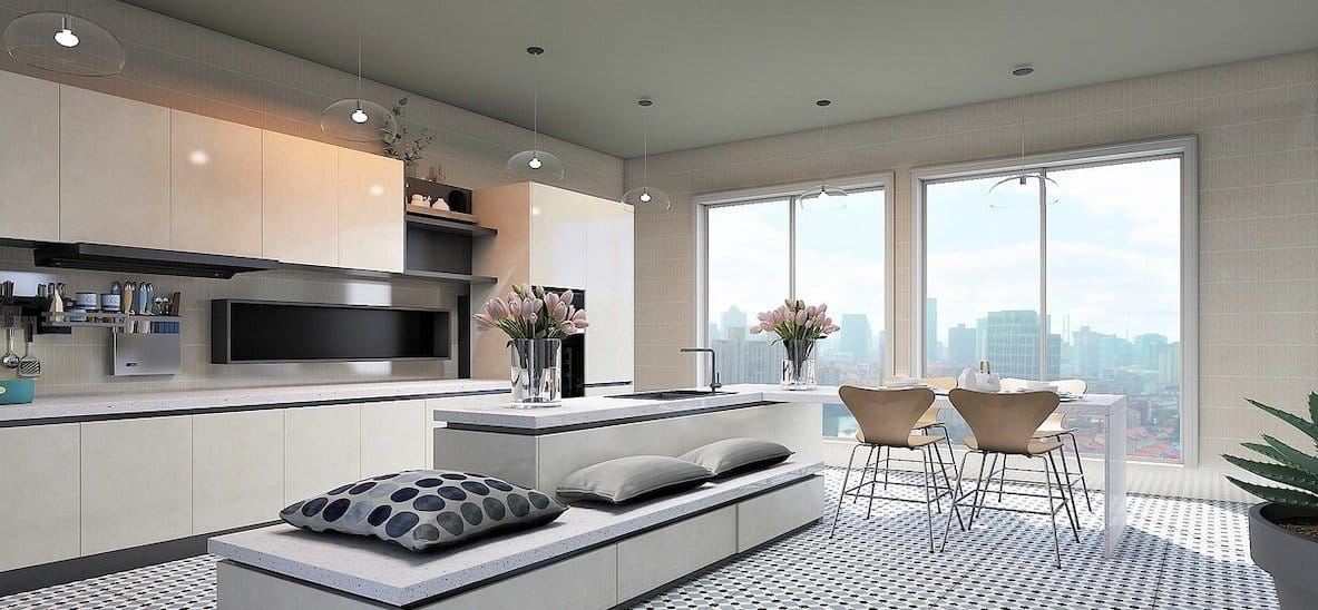 white fitted kitchen